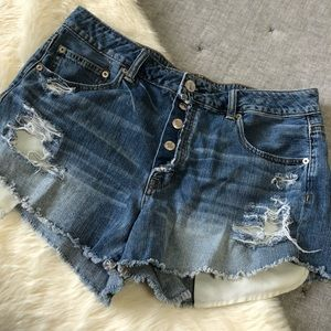 American eagle hirise festival button fly short 14